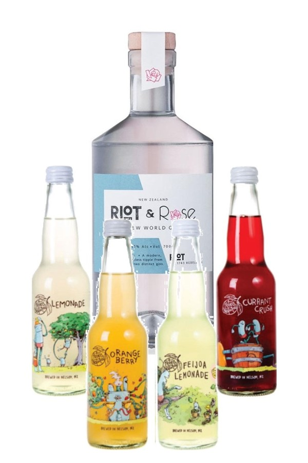 "Riot & Rose ""1743 Riot"" Gin 700ml & Pete's Natural Mixed 4-Pack"