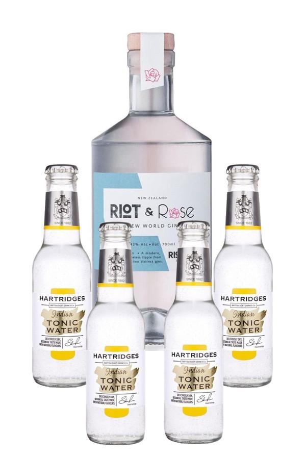 "Riot & Rose ""1743 Riot"" Gin 700ml & Hartridges Indian Tonic Water 4-pack"