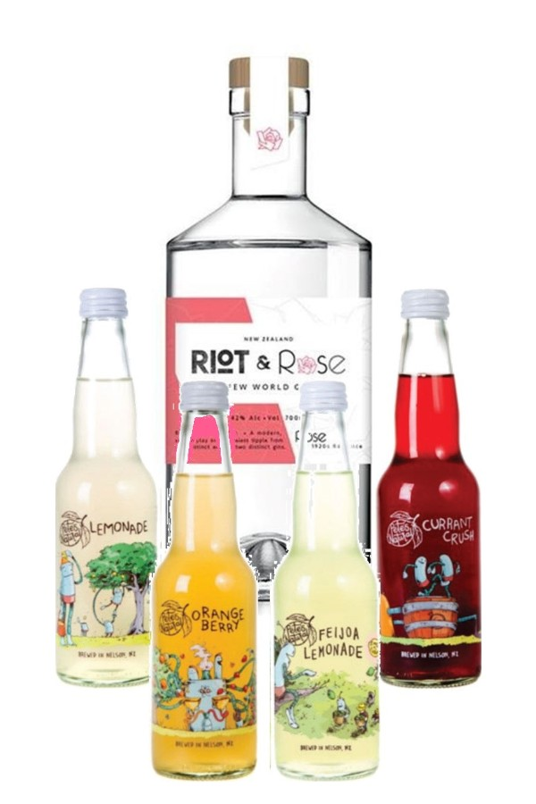 "Riot & Rose ""1920 Rose"" Gin 700ml & Pete's Natural Mixed 4-Pack"