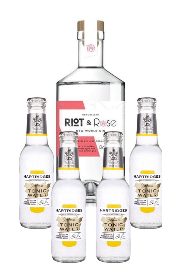 "Riot & Rose ""1920 Rose"" Gin 700ml & Hartridges Indian Tonic Water 4-pack"