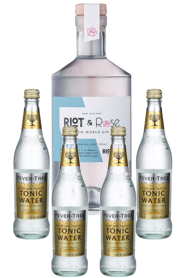 """Riot & Rose """"1743 Riot"""" Gin 700ml & Fever Tree Indian Tonic Water 4-pack"""