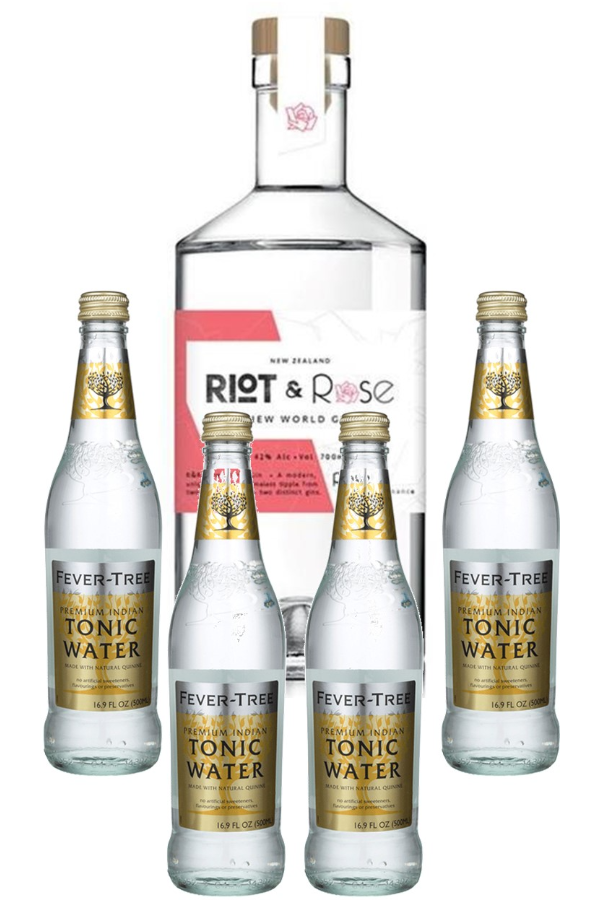 """Riot & Rose """"1920 Rose"""" Gin 700ml & Fever Tree Indian Tonic Water 4-pack"""